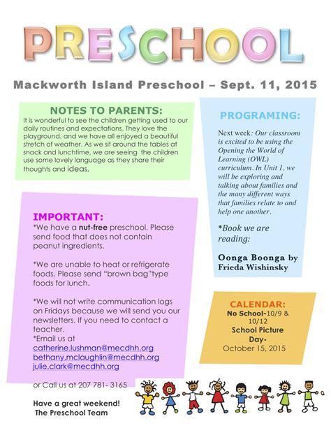 september 11 newsletter preschool 780 | preschool newsletter 9 11 15