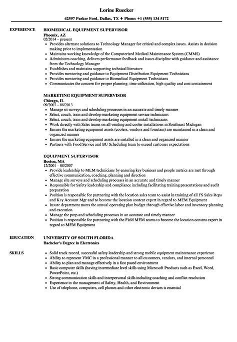 Shop Foreman Resume by Equipment Supervisor Resume Sles Velvet