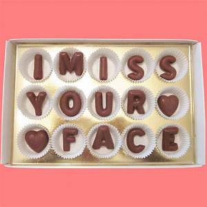 i miss your face large milk chocolate letters long With large chocolate letters