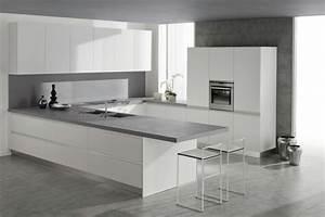cuisine blanche sol gris 3 plan de travail cuisine With cuisine blanche sol gris