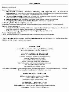 Law enforcement resume sample for Training officer job description template