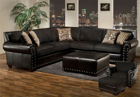 Top Grain Leather Sectional Sofas by Avanti Traditional Black Sectional Sofa W Nailhead