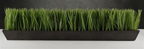 narrow long faux grass display  metal tray  long