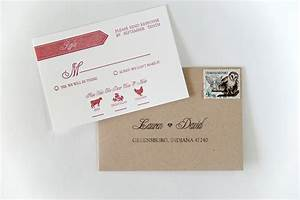 lauren dave39s modern red and white letterpress wedding With do wedding invitation envelopes need return address