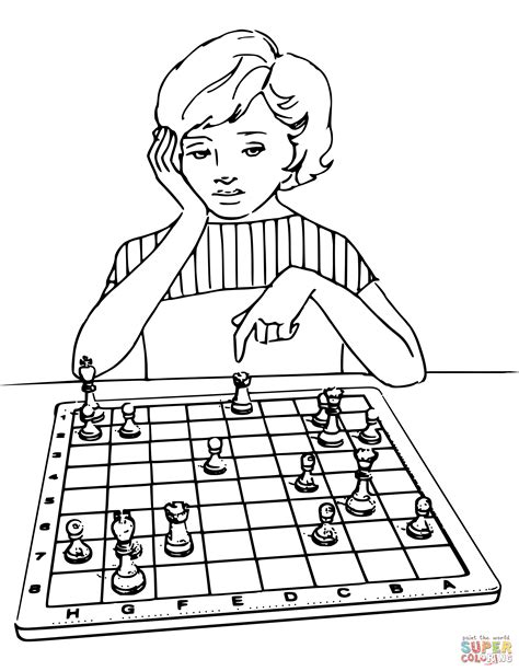 girl playing chess coloring page  printable coloring