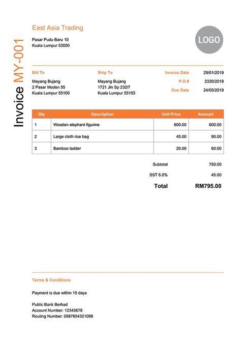 invoice template  modern orange    images