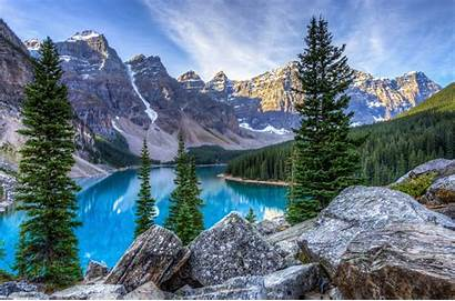 Mountain Lake Landscape Wallpapers Tree Trees Canada