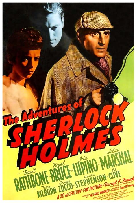 sherlock holmes adventures 1939 poster film movies london jewels moriarity stealing involved scheme professor crown tower horrornews around