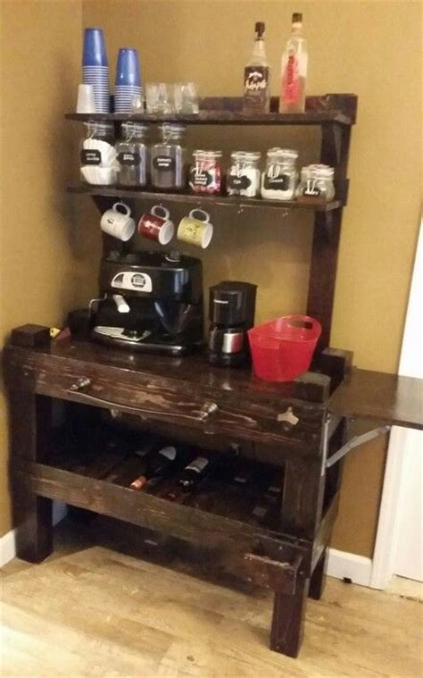 Pallet coffee bar, wine rack and wet bar all in one, made