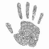 Hand Palm Mehndi Outline Coloring Flowers Vector Oriental Pattern Illustration Handdraw Vectors sketch template