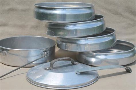 vintage buckeye aluminum picnic pack tiffin stacking camp set pans camping cookware