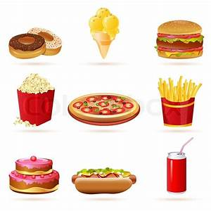 Illustration of junk food icons on white background ...