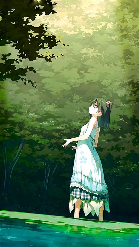 anime girl green art illustration wallpaper