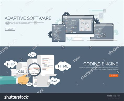 Search Engine Optimization Program by Vector Illustration Flat Background Coding And