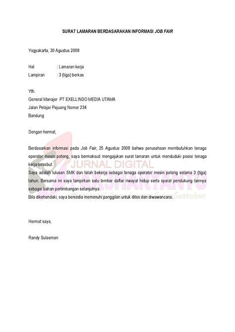 surat lamaran berdasarkan informasi fair ben