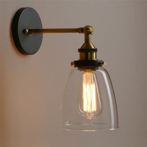 vintage wall lights uk permo industrial style clear glass wall l antique brass
