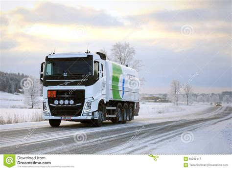 volvo diesel trucks volvo fh tank truck hauls diesel fuel in winter editorial