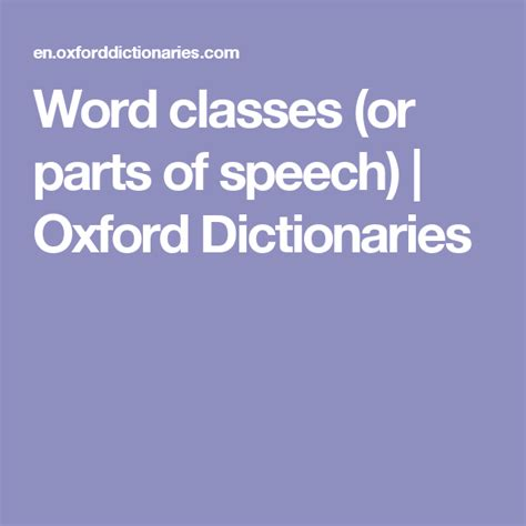 word classes  parts  speech oxford dictionaries