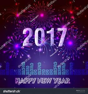 Fireworks Display Happy New Year 2017 Stock Photo ...