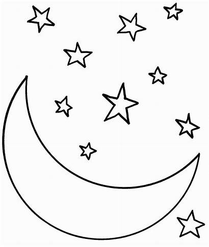 Coloring Stars Sky Pages Night Moon