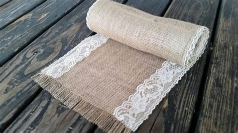 72 inch table runner table runner 10 inch wide by 72 inch long lace and burlap