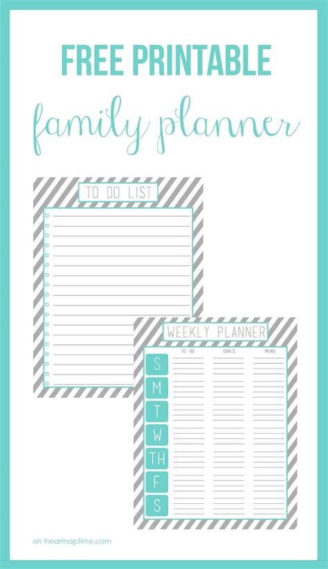 printable family planner  heart nap time