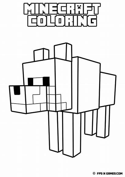 Minecraft Coloring Creeper Pages Printable Wolves Cool