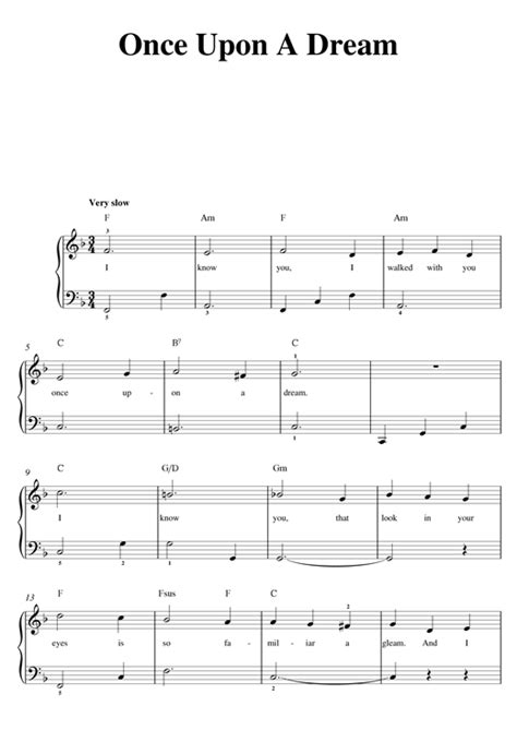 once upon a dream sheet music by lana del rey beginner