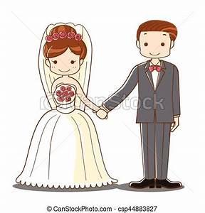 Dessin Couple Mariage Couleur : couple mariage dessin anim tenant main mignon ~ Melissatoandfro.com Idées de Décoration