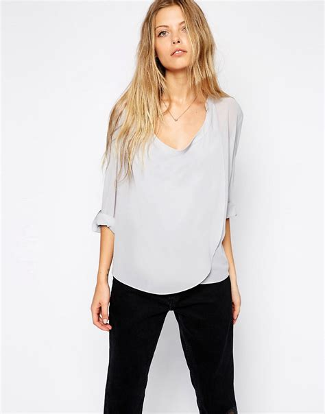 drape neck tops asos asos top with detail front and drape neck at asos