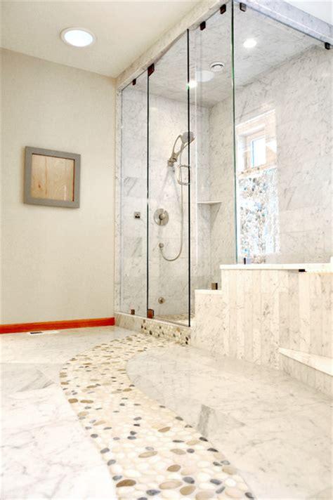 Marble Bathroom Floor With River Rock Contemporary