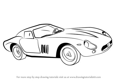 ferrari sketch view learn how to draw vintage ferrari vintage step by step