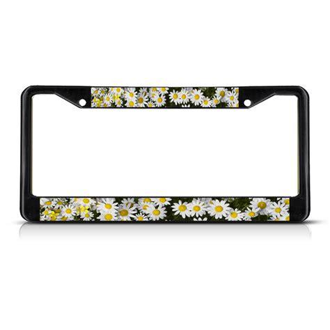 daisies flowers black metal license plate frame tag holder