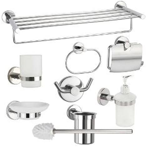 Bathroom Equipment India by Jwell 8 Pc Stainless Steel Premium Bathroom Accessories