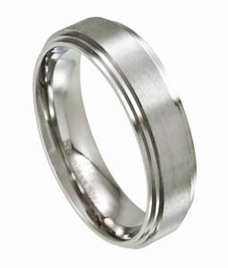 Men39s stainless steel wedding ring satin finish 7mm width for Mens stainless steel wedding rings
