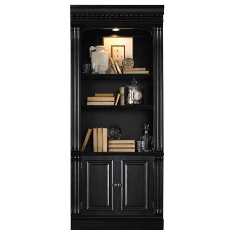 black bookcase with doors hooker furniture telluride bunching bookcase with doors in