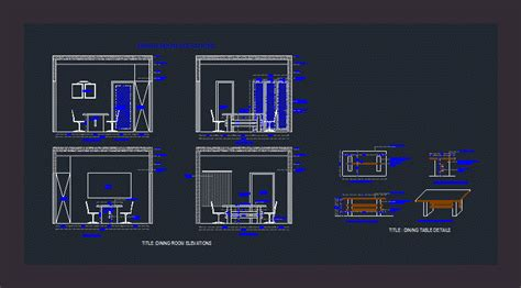 dining room elevation autocad cad
