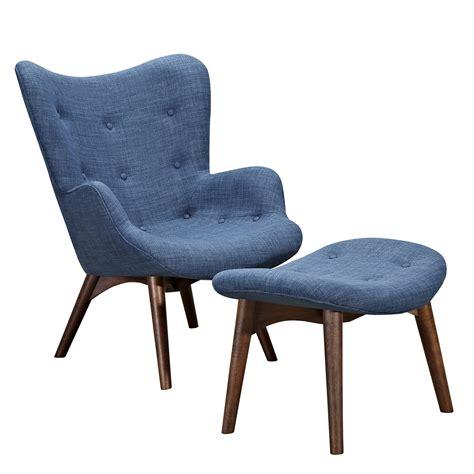 aiden mid century modern blue fabric chair ottoman in