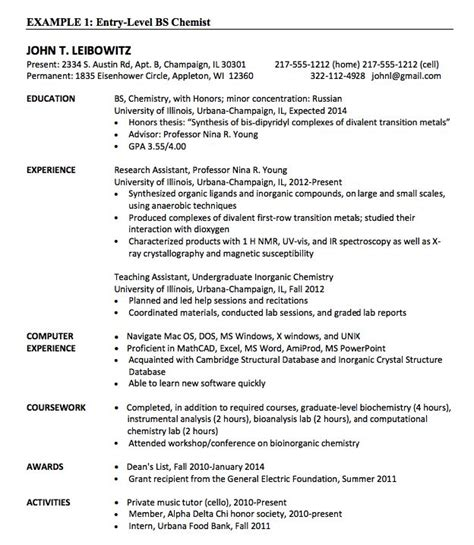Analytical Chemist Resume Sles by 17 Best Images About Free Resume Sle On
