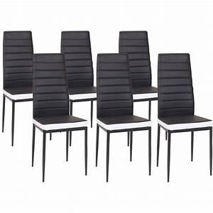 Lot De 6 Chaises ROMANE Noires Bandeau Blanc Pour Salle