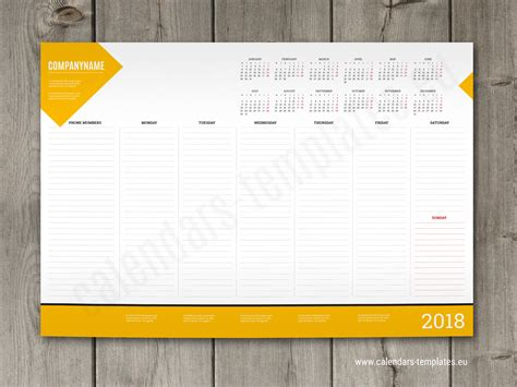 weekly desk pad planner template  yearly calendar
