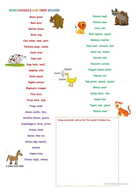 some animals and their sounds worksheet free esl