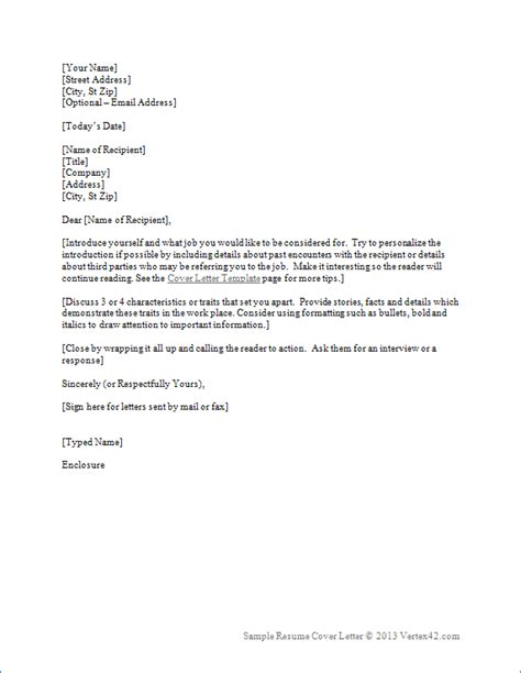 resume cover letter template  word sample cover letters