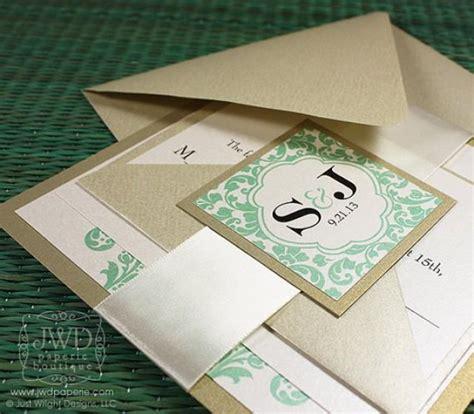 Elegant Wedding Invitation Light Gold Mint Green Wedding Invitation Luxury Flourish Wedding