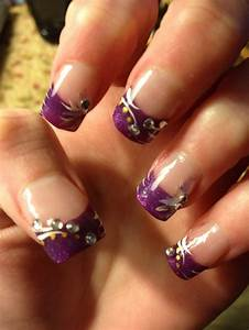 Purple French nail design   Nails   Pinterest   French ...