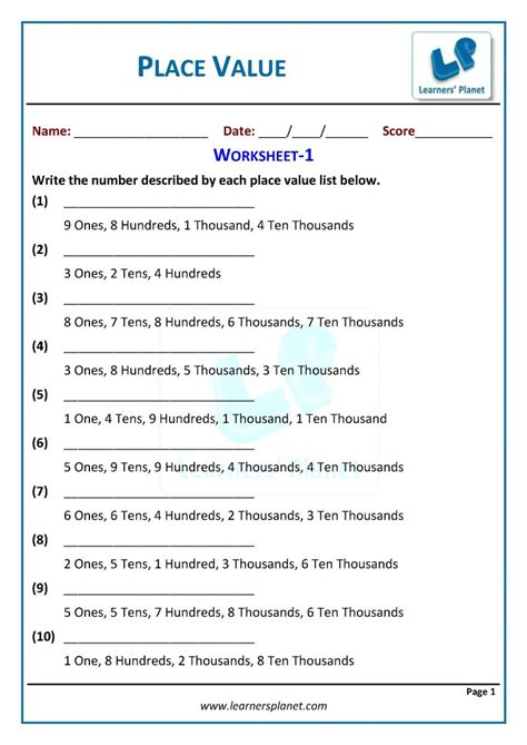 grade  place  worksheets maths
