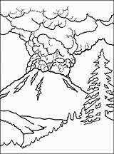 Coloring Volcano Printable Pages Popular sketch template