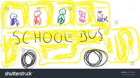 kids drawing yellow school bus stock illustration