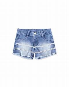 Shorts Jeans Com Renda Infantil Menina Hering Kids ...