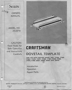Craftsman Dovetail Jig  315 25710 - Page 3